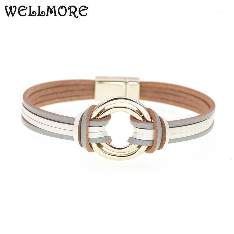 Wellmore Charme Lederarmbänder für Frauen Männer Mehrere Ebenen Wrap Armbänder Paar Geschenke Modeschmuck Großhandel1