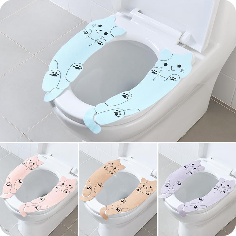 Липкий мультфильм туалетная наклейка многократный теплый мягкий туалет крышка коврик мультфильм моющийся сиденья крышка накладки подушка для ванной комнаты для ванной комнаты