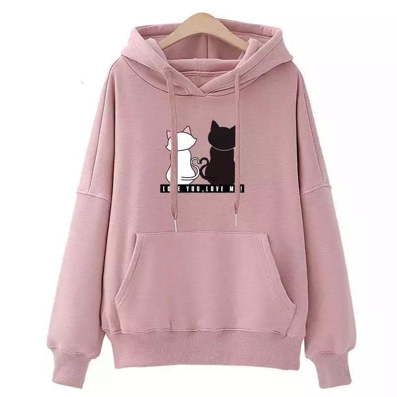 Пуловерные женские кошка печатная толстовка мода женская спортивная кармана вскользь женские толстовки