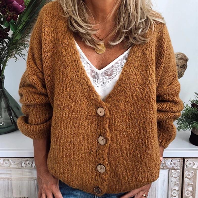 Плюс размер женской моды новый 2021 женский свободный повседневный одиночный свитер V-образным вырезом вязаное пальто сплошной цвет свитер женские