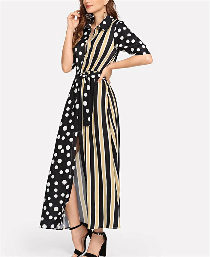 Sexy herbst winter patchwork schärpen hohe split kleider frauen mode beiläufige kleidung frau polka dot gestreiften dress womens