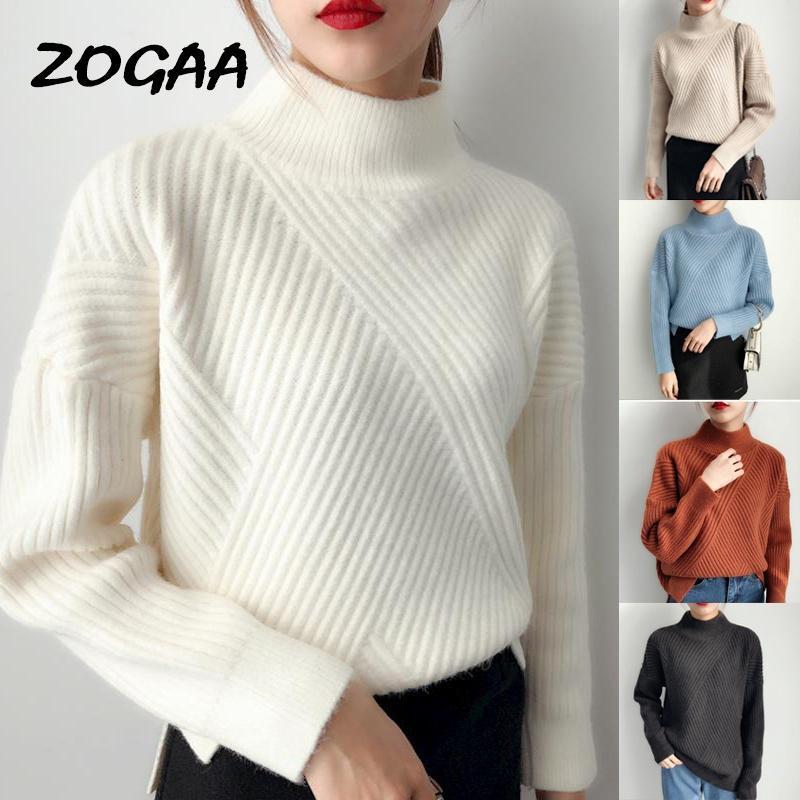 Zogaa Pullover Frauen Weihnachten Casual Fashion Turtscheck Herbst Winter Neue Strick Pullover All Match Solid Heißer Verkauf Chic Elegant
