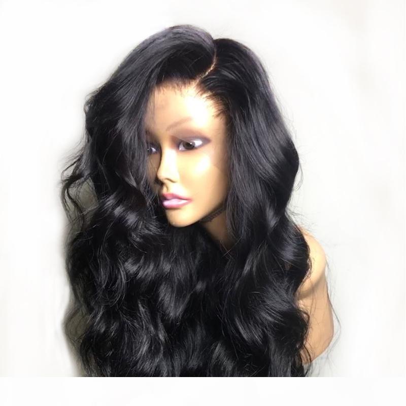 أسود غلويليس الجسم موجة قبل التقطه كامل الدانتيل شعر الإنسان الباروكات مع شعر الطفل الطبيعي البرازيلي ريمي الدانتيل الجبهة الباروكة للنساء