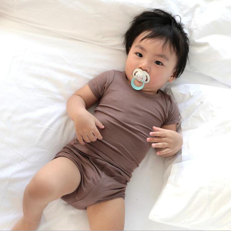 Летние новорожденные девочки для девочек мальчики для ребристых хлопка повседневная короткая рукавная футболка + шорты малыша младенческая высокая талия набор набор талии 201126