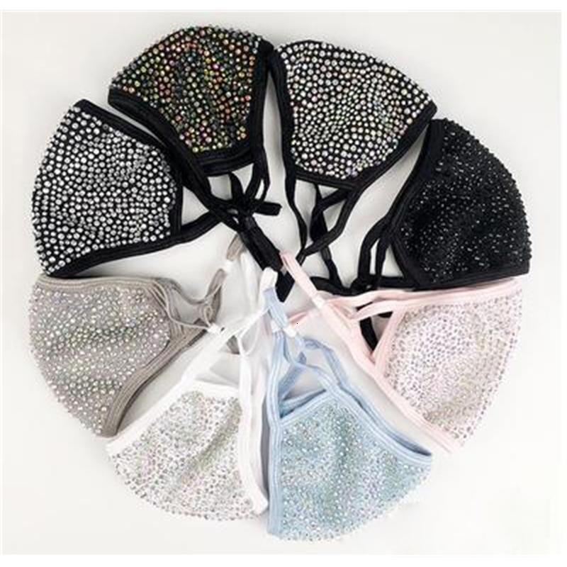 Фабрика DHL мода пылезащитный лицевой маска для лица Bling Bling алмаз защитная маска PM2,5 маски рот моющиеся многоразовые женщины