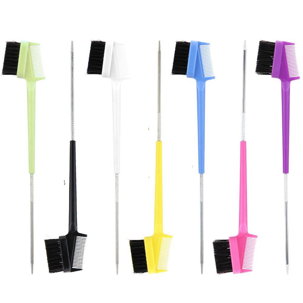 Beleza dupla face de aço pino borda controle cabelo pente cabelo ferramenta ferramenta escova escova de dentes escova escova de sobrancelha escova de morte
