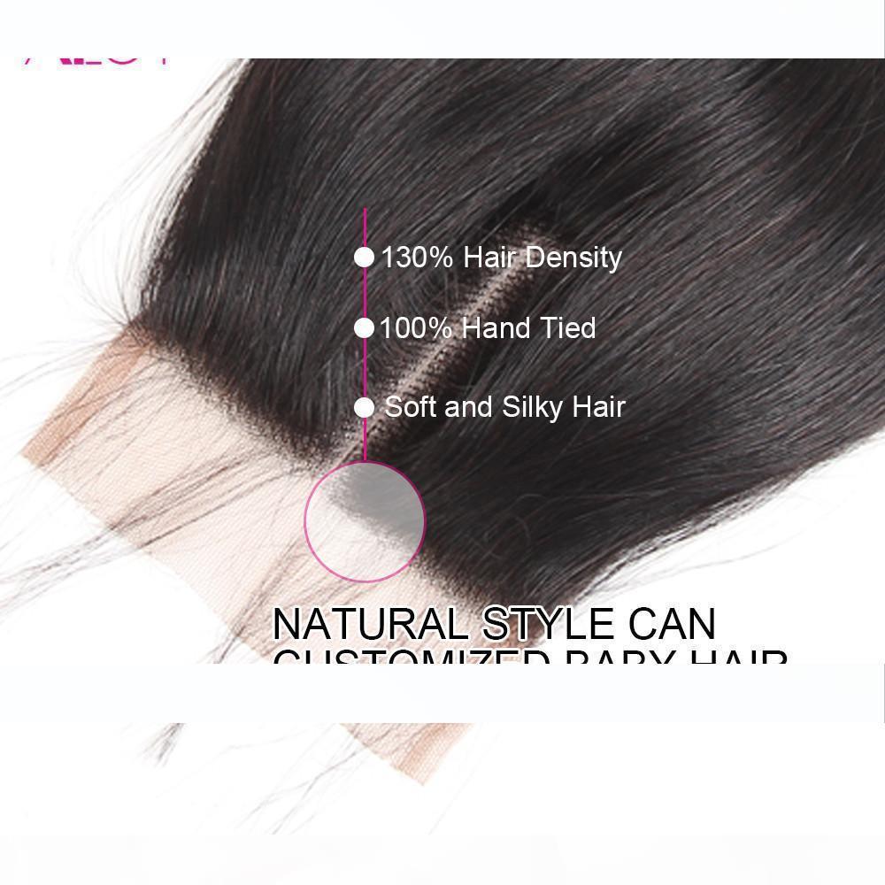 4 * 4 Dantel Kapatma Doğal Renk İşlenmemiş Ücretsiz Orta 3Part ile Brezilyalı Virgin Saç Paketler Düz Bakire İnsan Saç 3 Paketler