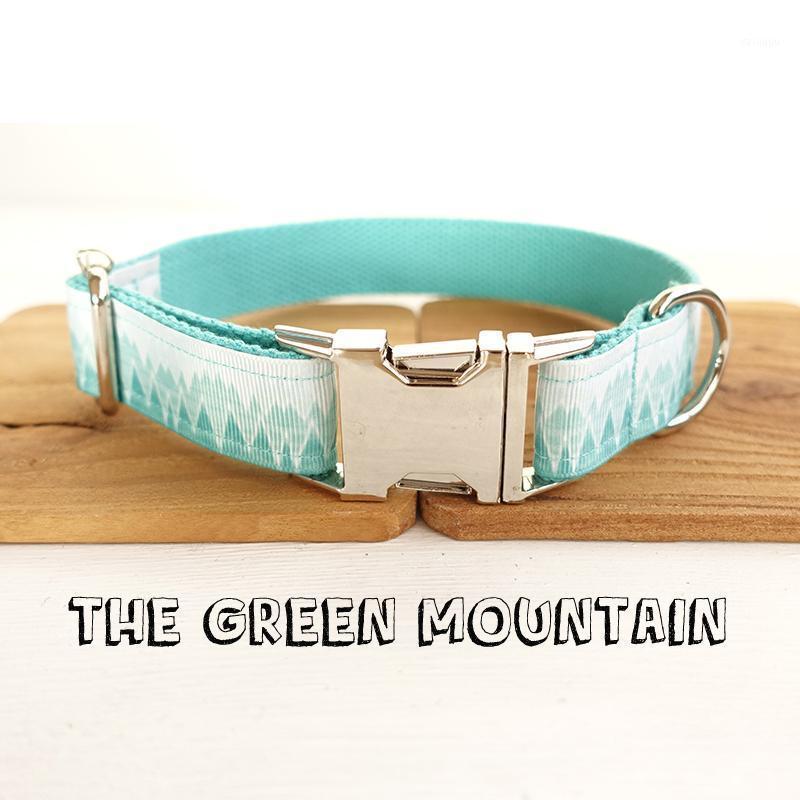 Collier de chien en nylon personnalisé avec boucle de haute qualité en métal The Green Mountain Print Collier de Pet Laisse 5 tailles1