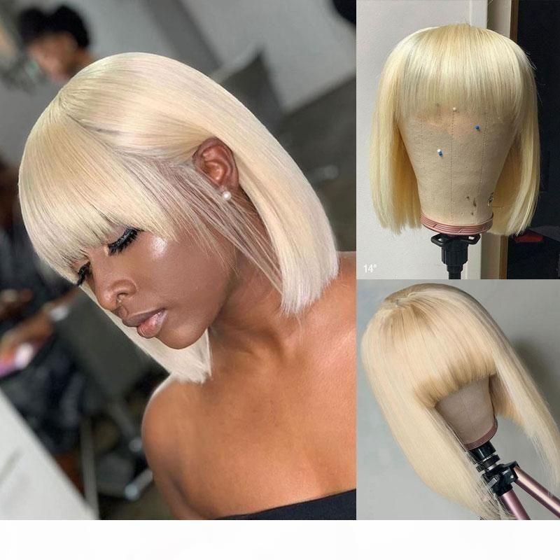 ISHOW Brasiliano 613 Bionda Colorata Breve Bob Parrucche parrucche di capelli umani diritte parrucche per capelli umani con Bangs Capelli indiani peruviani nessuna parrucca di pizzo per le donne nere