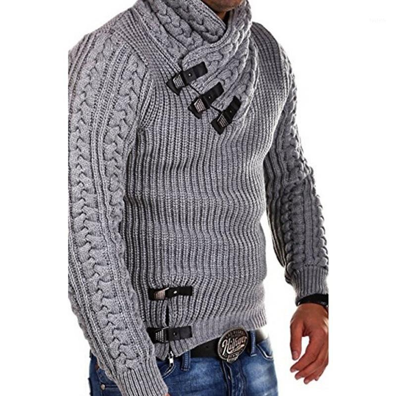 2019 invierno hombres de manga larga ropa suéteres inclinados hebilla hombre moda ropa tejer suéter con capucha1