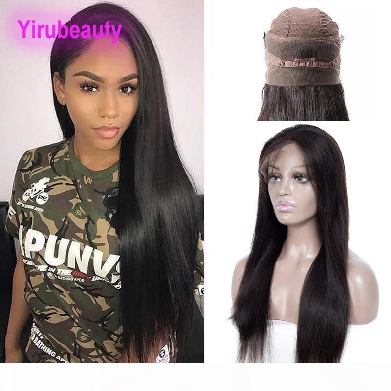 Indian Raw Virgin Hair 360 encaje pelucas frontales del cabello humano 360 peluca frontal con pelo bebé 8-26 pulgadas recta Yiruhair