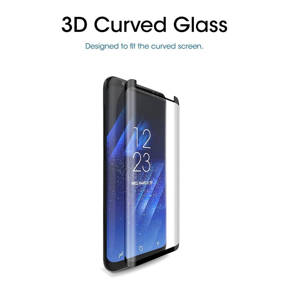 3d منحني حالة الهاتف المقسى حامي الشاشة الزجاج لسامسونج غالاكسي S8 S9 زائد S10 9H انفجار برهان لامعة المضادة للخدش الفيلم