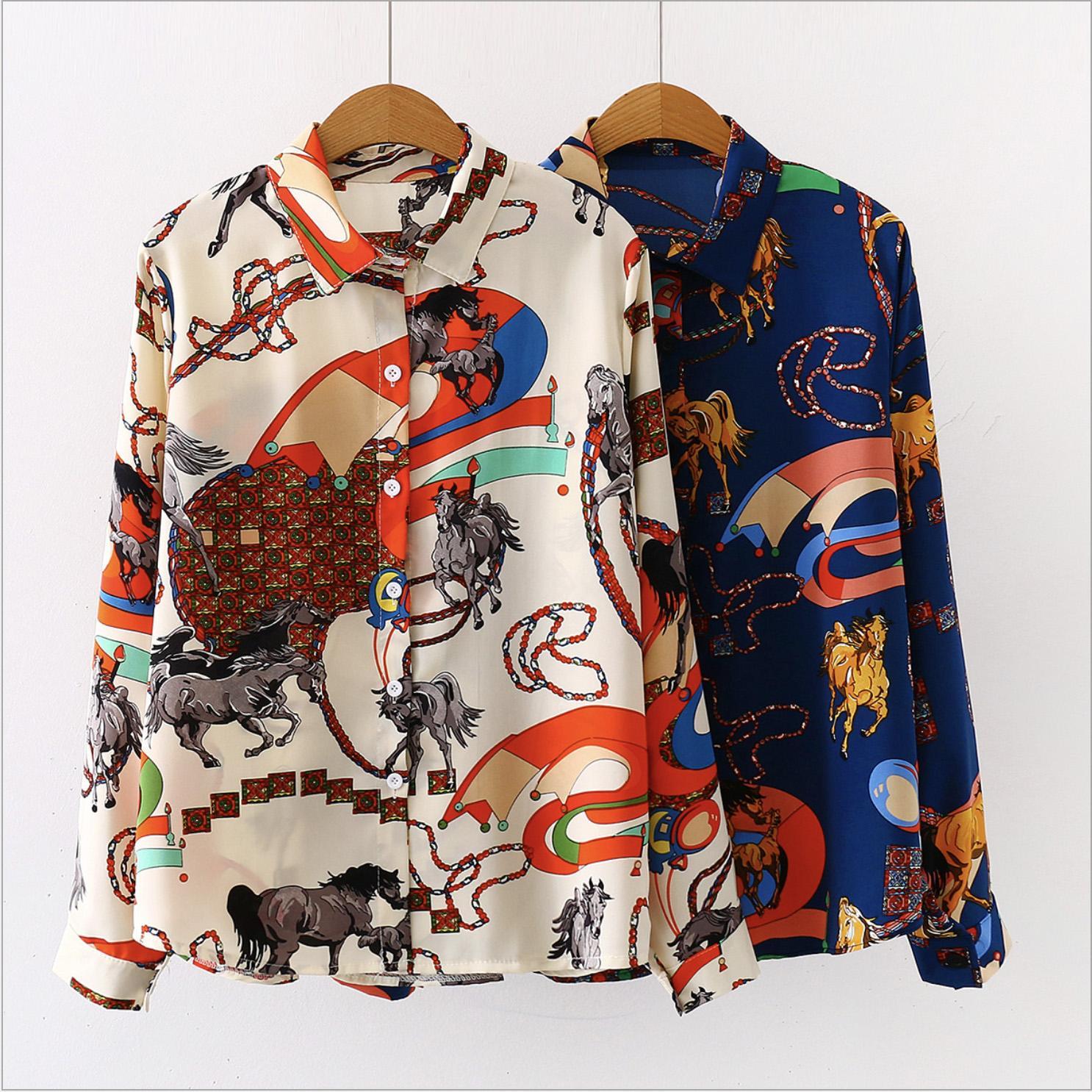 여성 디자이너 라펠 넥 버튼 블라우스 봄 가을 레트로 꽃 인쇄 럭셔리 카디건 블라우스 패션 셔츠 긴 소매는 셔츠 탑