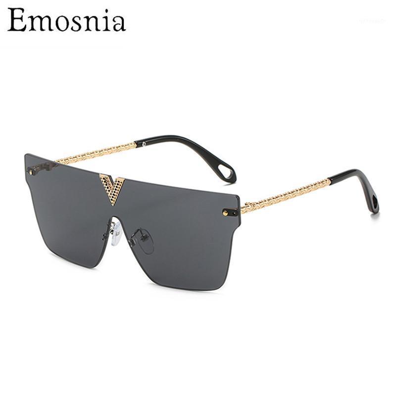 Óculos de sol emosnia 2021 Moda Mulheres Rimless Retro Retro Vintage um pedaço de sol óculos para viajar UV4001