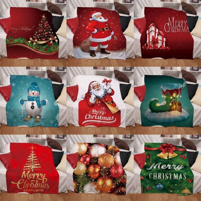 Noel Battaniye Santa Clause Mats Dijital Baskı Kış Kalınlaştırıcı Mat Çift Katmanlar Battaniyeler Tekstil Aksesuarları GWB3077 atın Tasarımlar