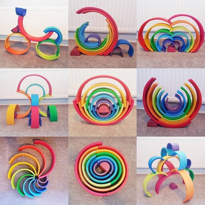Montessori Bébé Jouets En Wooden Designer Rainbow Arch Bridge Britique Construction Preschool Jouets éducatifs pour enfants