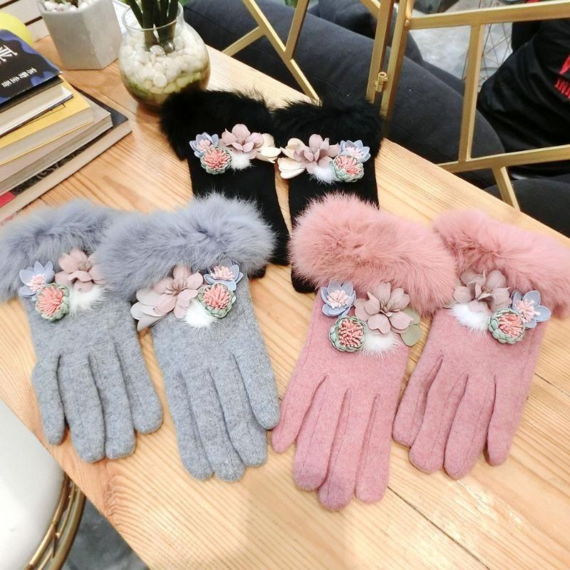 Оптово-мода женские перчатки осень зима женские сенсорные перчатки мягкие меховые запястья кашемировые шерстяные варежки вождение AGL285
