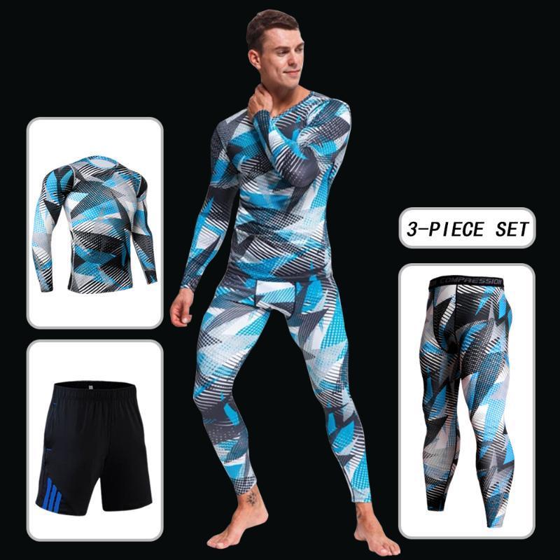 Moda inverno homens camisolas conjunto ao ar livre de basquete casual running sportswear homens t-shirt calças de tracksuit de 3 peças