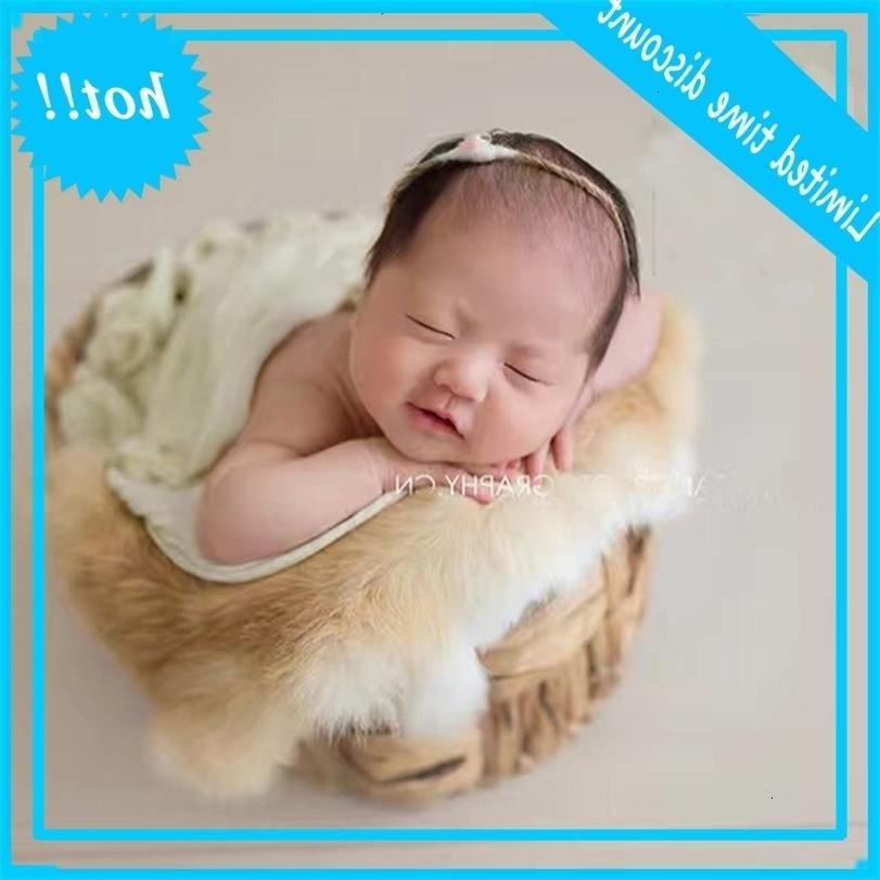 Yenidoğan Fotoğraf Sahne Faux Kürk Bebek Fotoğraf Çekimi Backdrop Kumaş Poz Sepet Dolgu Fotografia Aksesuarları