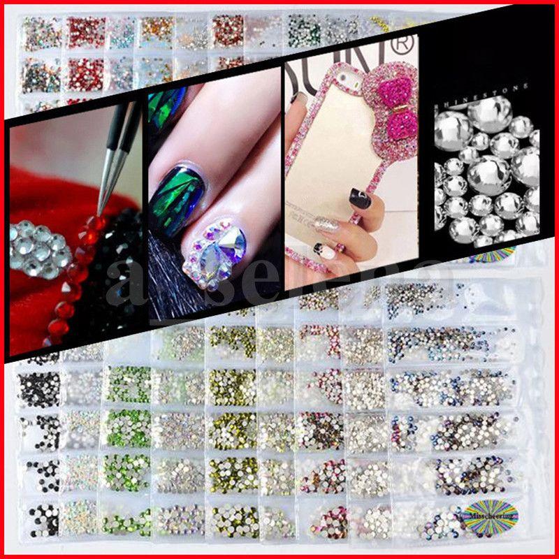 20 colori cristallo nail rhinestone monili 3d gioielli in vetro diamante gemme nail art decorazione fai da te crostata strass 6 dimensioni