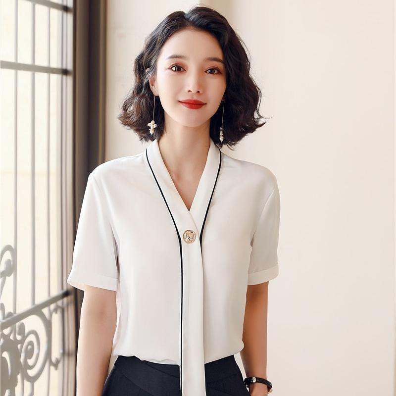 Novo 2020 Verão Moda Mulheres Blusas Branco Manga Curta Camisas Senhoras Tops Office Uniform Styles1