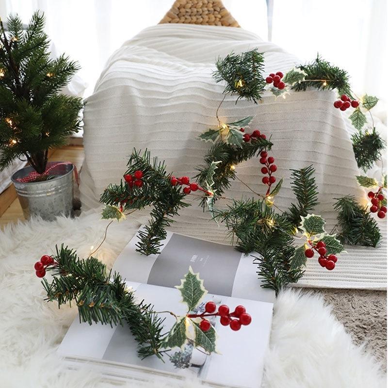 Lumières de Noël Fée Lights Couronne avec lumières Berres de fleur Fête Fête Fête Famille Anniversaire Decor Décor Batterie Powered DTT88 T200909