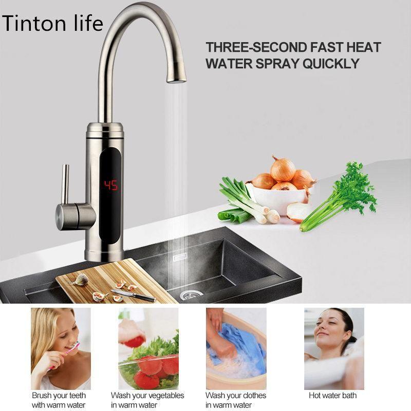 Tinton Life Elektrische Wasserheizung Temperaturanzeige Küche Tankless Instant Warmwasser Wasserhahn 3000W CWMSPORTS FY7404
