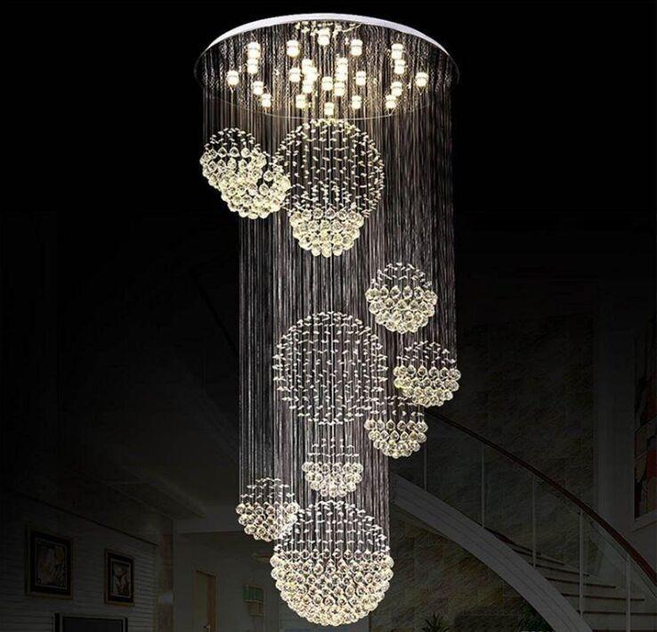 Modern Avize Büyük Kristal Işık Fikstürü Lobi Merdiven Merdivenler Için Fuaye Uzun Spiral Parlaklık Tavan Lambası Gömme Monte Merdiven Işık