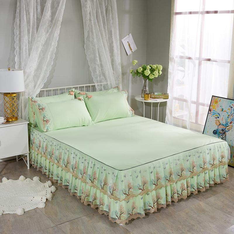 Rendas Borda Cama Saia Chique Ruffled Lace Bed Skirt Rainha Rainha Tamanho Full Algodão Soft Sheel Set Cover Fronha