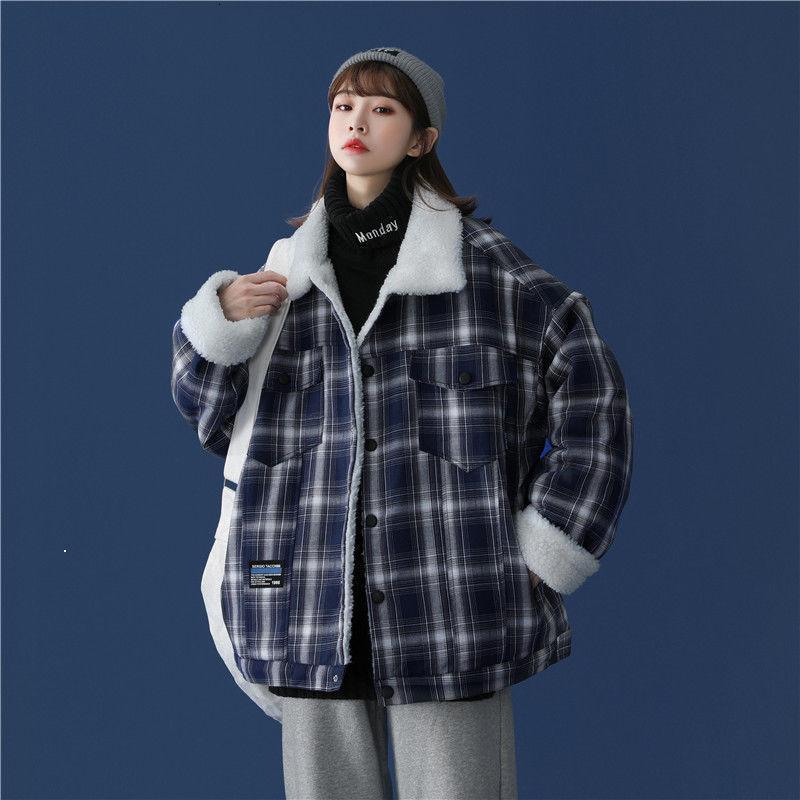 Juventude 2021 estudantes de jaqueta masculino de xadrez de outono, além de veludo cordeiro coleira de algodão líquido grosso Quilted roupas pretas melhor imm1m