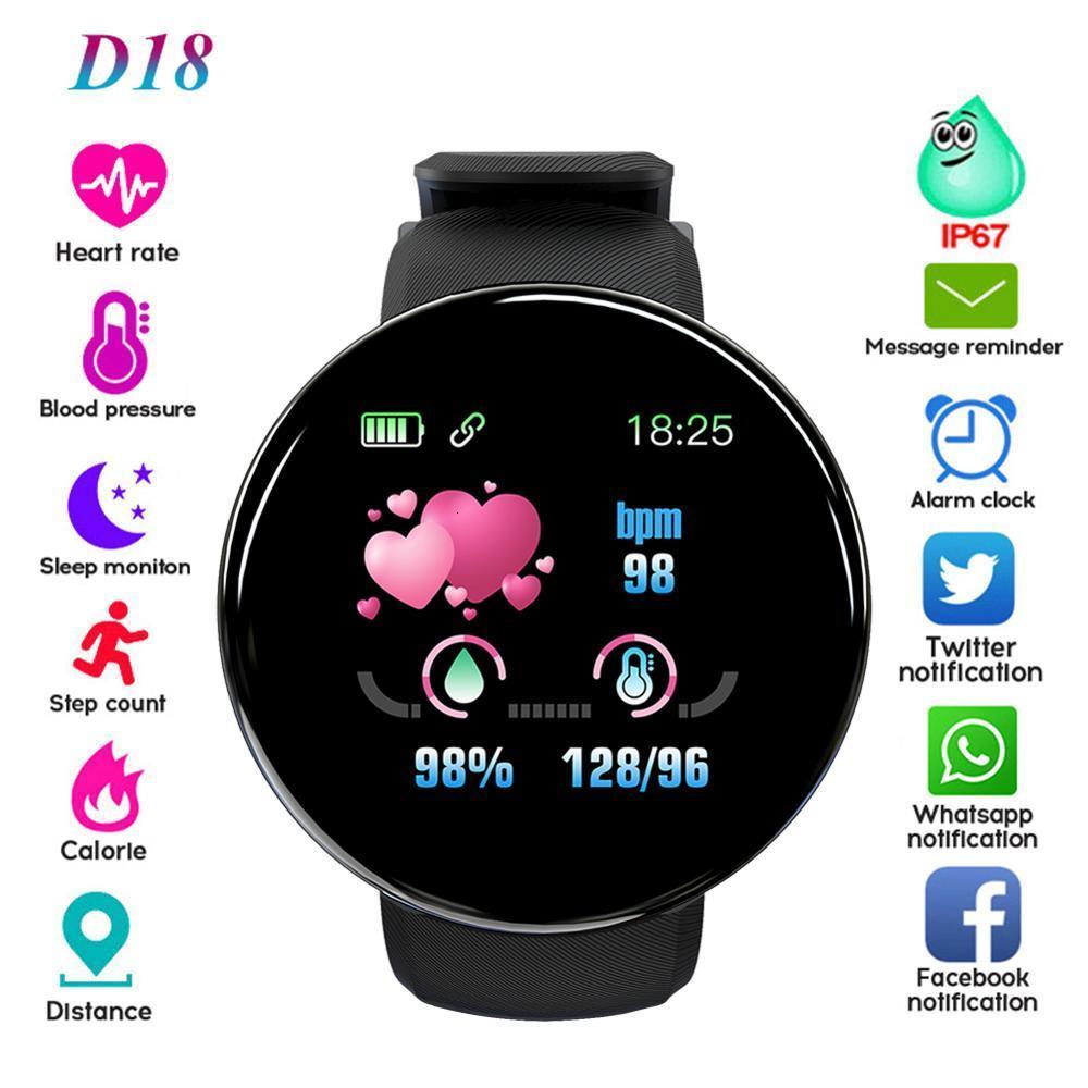 D18 Pulseira de esportes original, relógio inteligente com tela colorida, rastreador de fitns, controle de freqüência cardíaca, sangue prsure, lembrete de chamadas, impermeável