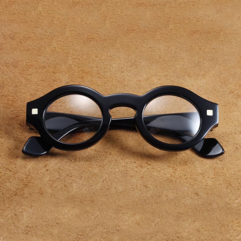 Vazrobe Vintage Çerçeve Erkek Alan Erkekler Steampunk Kalın Gözlük EW09 Yuvarlak Siyah Gözlük Cam Moda SFDPD