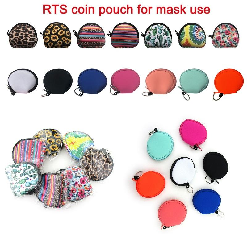 14 Styles Neoprene Waterproof Zipped Coin Pouch Mask Holder Earbud Case with Keyring Earphone Pouch for Adult Kids