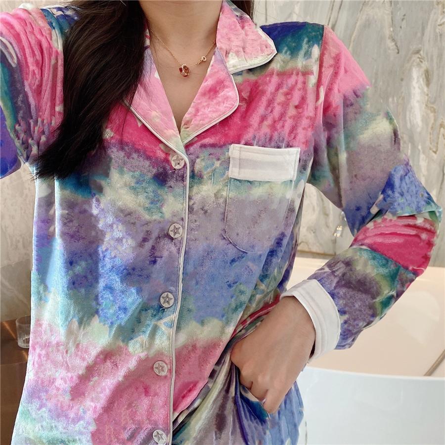 Top print de léopard Velvet Pyjamas 2021 Nouveau Noir Noir Femme Noir Luxe Height Height Hiver Black Manches Longues Velours Femme Home Pyjamas Designer # 237009