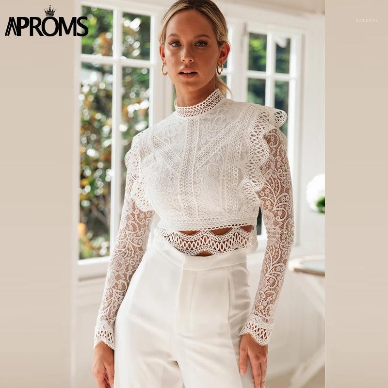 APROM Vintage Dentelle Garniture Broderie Femme T-shirt Élégant Couche à manches longues à manches longues à manches longues dames Party Tee Hollow Out Tshirt 20201