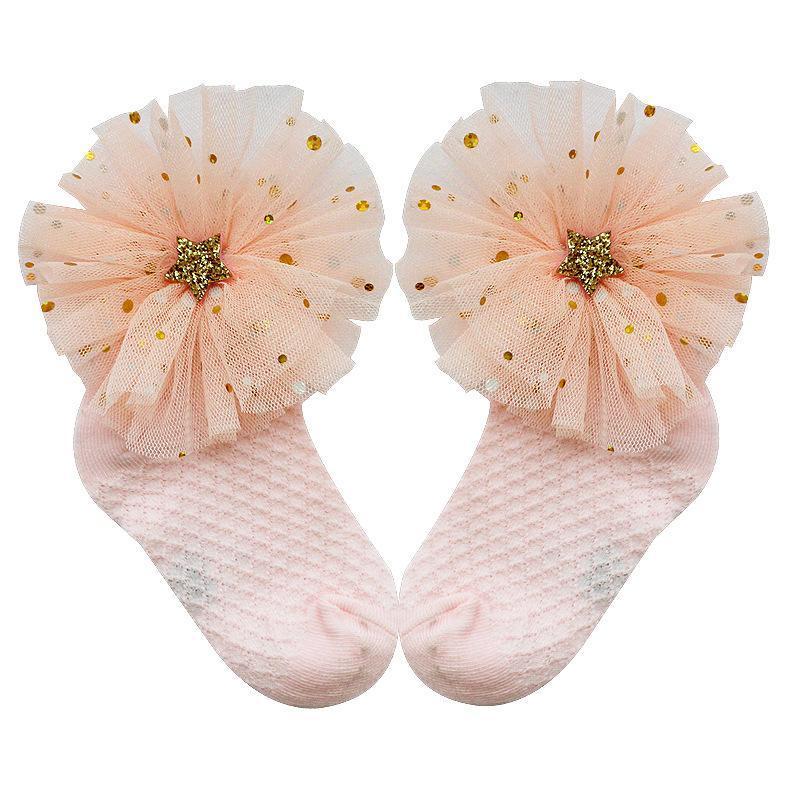 Chaussettes filles gros arc d'été maillé maille solide bébé princesse dame moustique preuve mince petite fille