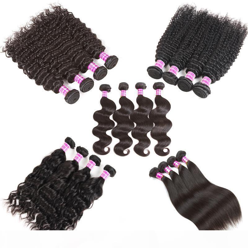Billig 8A Brasilianische jungfrau Menschliches Haar gewebt Gerade Remy Haarfunktionen Unverarbeitete kinky lockige Webart Bündel Tiefwelle Menschenhaarverlängerungen