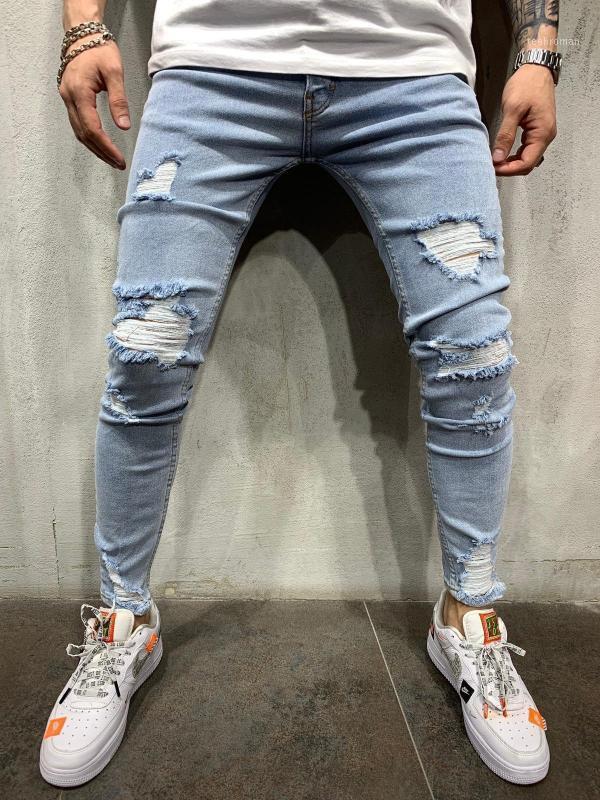 Продажа мужских разорванных джинсов для мужчин повседневная синяя тощая тонкая подходящая ткань джинсовые брюки байкер хип-хоп с сексуальными отверстиями штанов1 мужчин