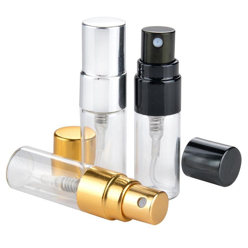Toptan Kozmetik Parfüm 3 ml Cam Küçük Sprey Şişeleri Doldurulabilir Seyahat Şişe Altın / Gümüş / Siyah Kap