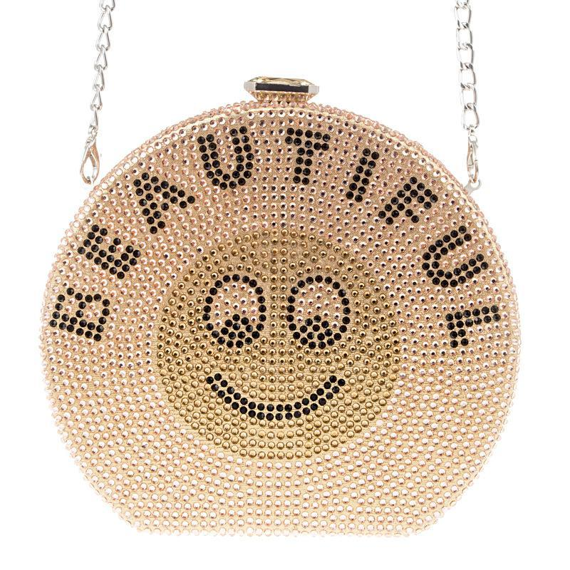 Champagnerfarbe Kristall Party Clutch Handtasche Mode Gold Schwarz Lächeln Muster Frauen Kleine Abend Diamant Schulter Prom Tasche