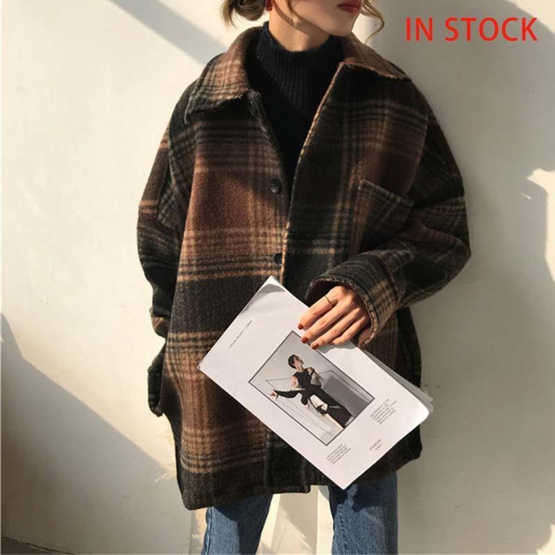 Femme Automne Laine Plaid Mélanges Ventille Verte Veste Verte Vérifier Batwing Manches Coréen Manteaux 2021 Vêtements de poche d'hiver Mesdames