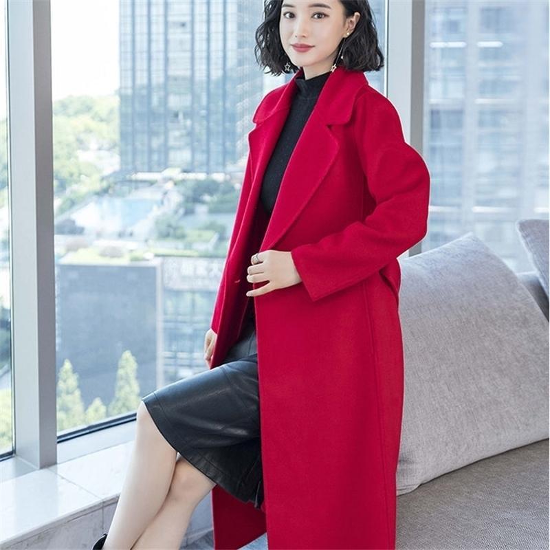 inverno longo casaco de lã grossa algodão-acolchoado mulher vinho vermelho preto khiki negócio senhora outono engrossar mulheres casaco de lã 201214