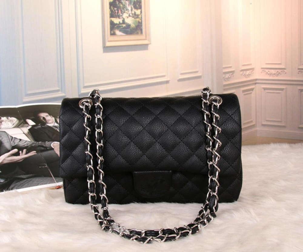 Diseñadores de lujos bolsas de cuero genuino Hombro de caviar de seis colores Caviar Diamante Cellejera acolchada Bolsa de solapa