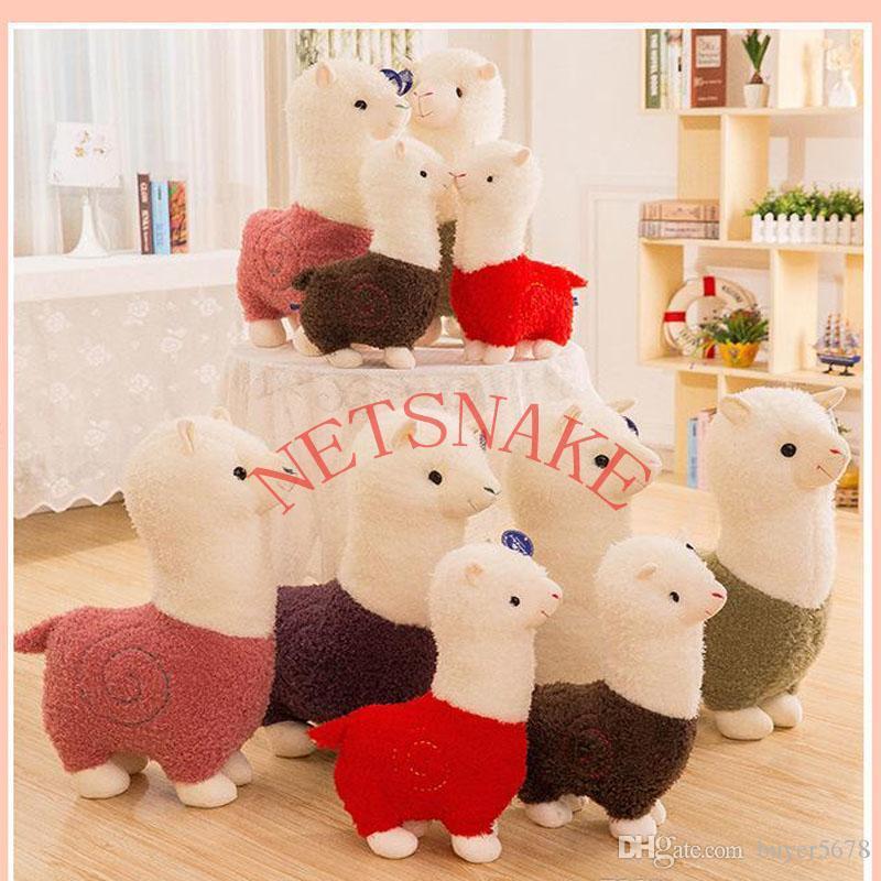 DHL 잔디 진흙 말 인형 Alpaca 봉제 장난감 긴 머리 베개 만화 귀여운 양 짧은 봉제 장난감 미니 채워진 Alpaca 플러시 장난감
