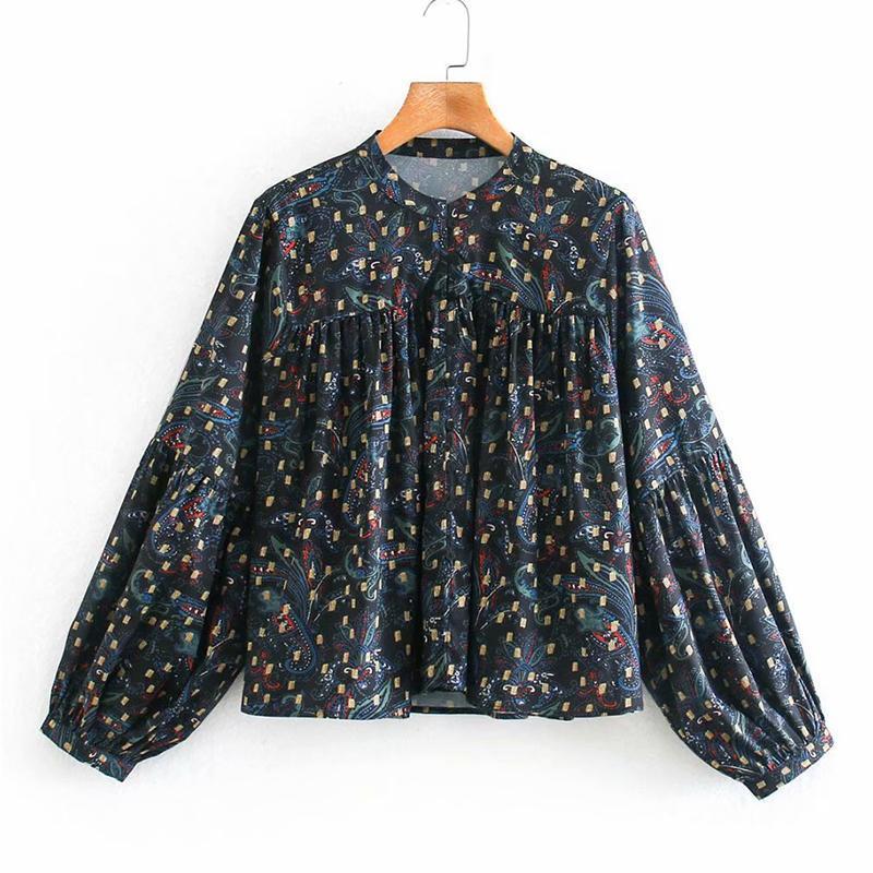 Malina Fashion Prairie Chic O Cuello Blusas Mujeres Elegante Linterna Sleeve T Shirts Mujeres Primavera Folleto Tops Tops Damas