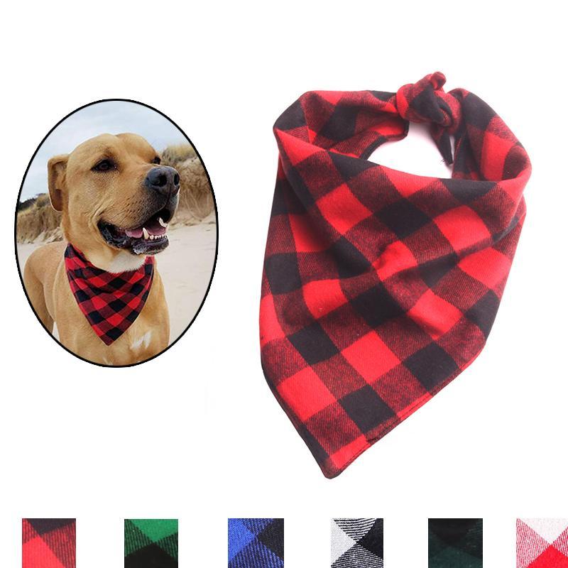 S / L Cão do Natal Scarf Plaid Pet Triângulo Bandana Bib lenço de algodão para Menor Médio cãe