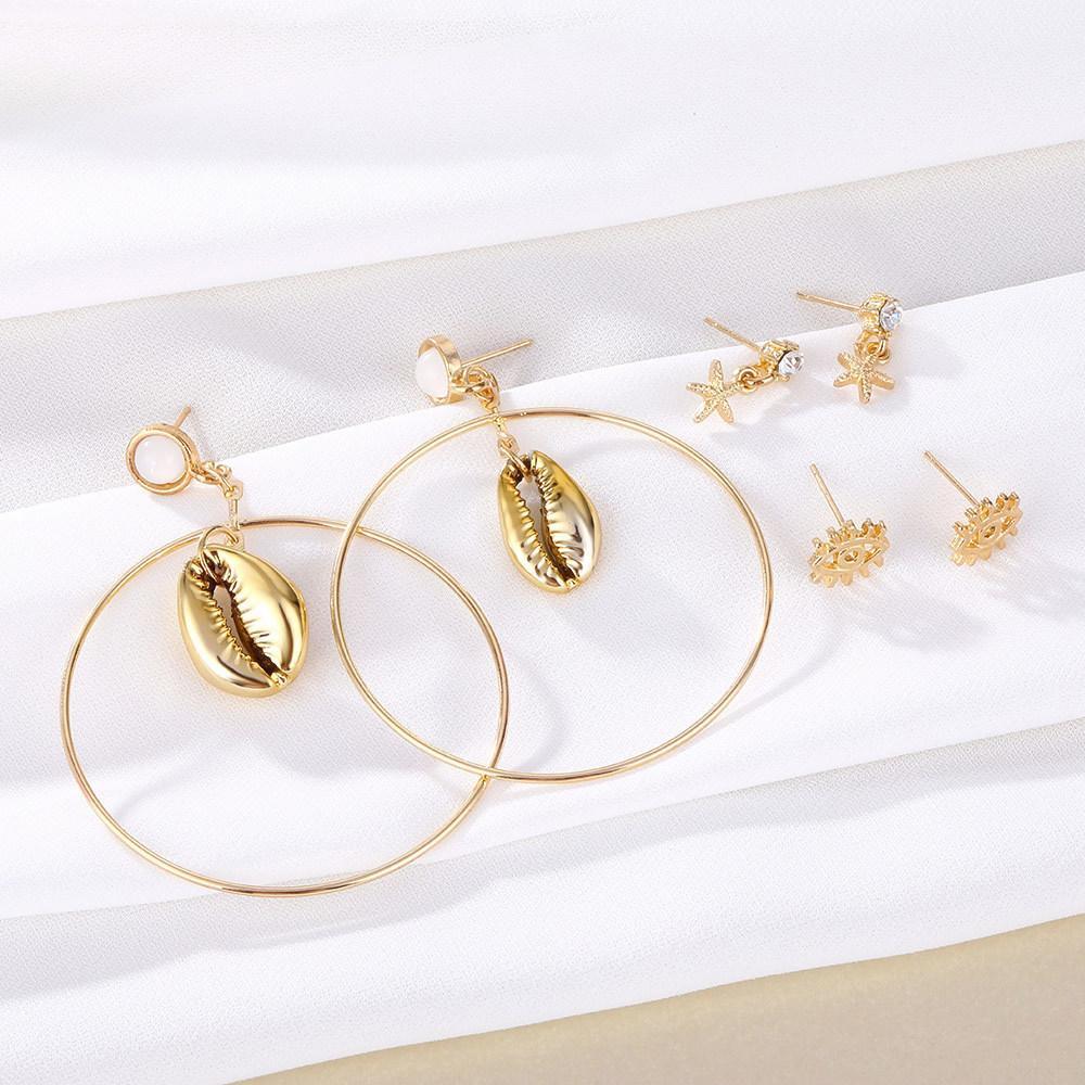 3 paires / set fashion déclaration boucles d'oreilles boucles d'oreilles coquille de gros cercle pour femmes suspendues pangle cristal étoile boucle d'oreilles modernes bijoux modernes