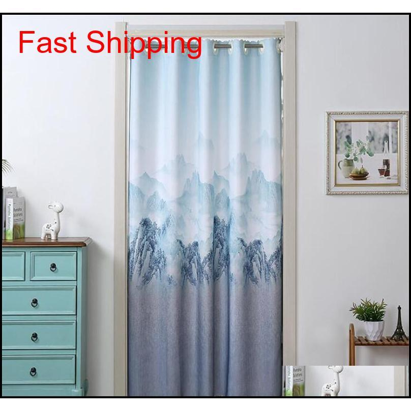 Nordic Style Blackout Household Door Curtain Landscape Blue Curtain Partition Home B jllrFP yeah2010