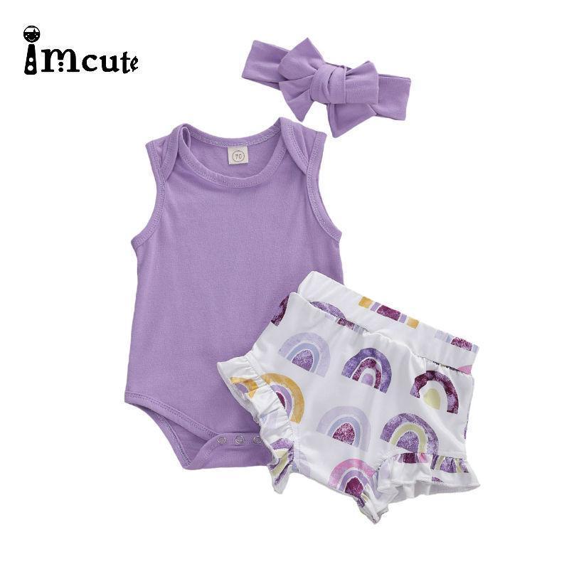 Imcute Geburtstage Geschenk Kleinkind Babymädchen Säuglingskinder Kleidung Tops Blume Print Rainbow Body Shorts Stirnband Outfits 3 stücke Set 201114