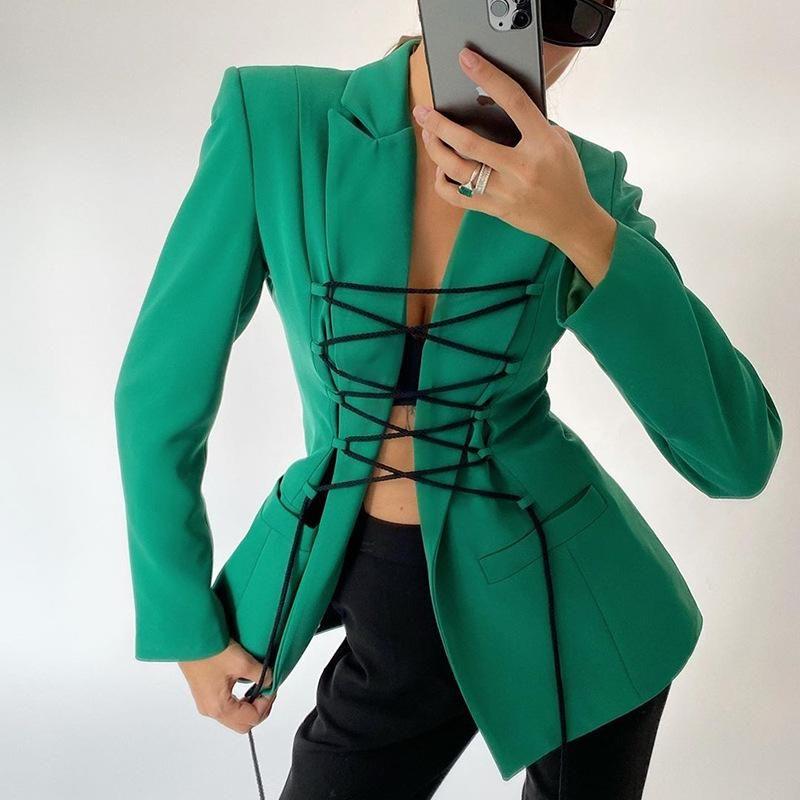 Moda mulheres blazer v-pescoço sexy lace up longo casacos e jaquetas mulher 2020 outono moda verde casaco verde feminino